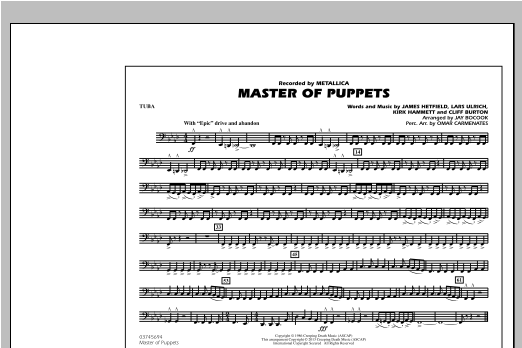 Jay Bocook Master of Puppets - Tuba sheet music notes and chords. Download Printable PDF.