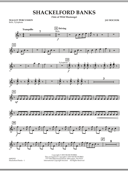 Jay Bocook Shackelford Banks (Tale of Wild Mustangs) - Mallet Percussion sheet music notes and chords. Download Printable PDF.