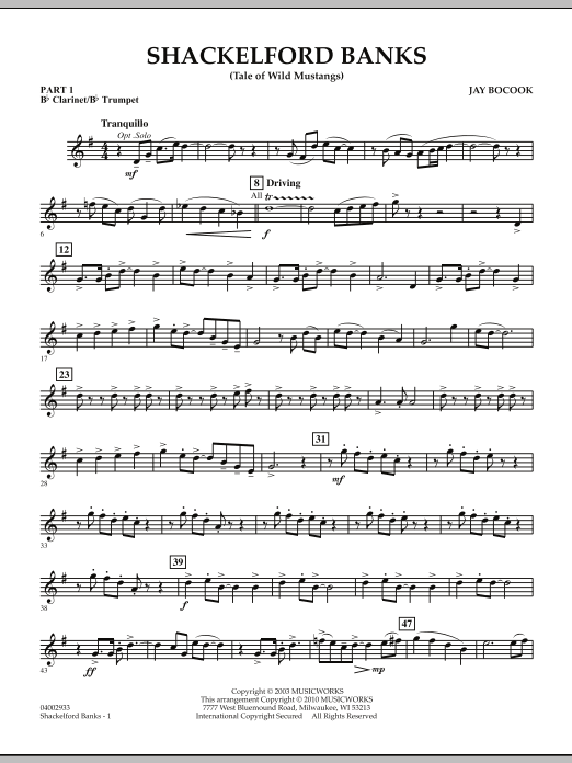 Jay Bocook Shackelford Banks (Tale of Wild Mustangs) - Pt.1 - Bb Clarinet/Bb Trumpet sheet music notes and chords. Download Printable PDF.
