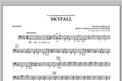 Jay Bocook Skyfall - Bassoon sheet music notes and chords. Download Printable PDF.