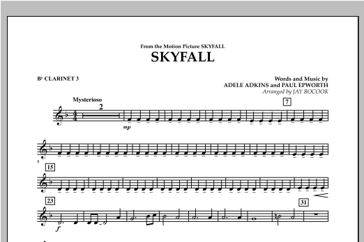 Jay Bocook Skyfall - Bb Clarinet 3 sheet music notes and chords. Download Printable PDF.