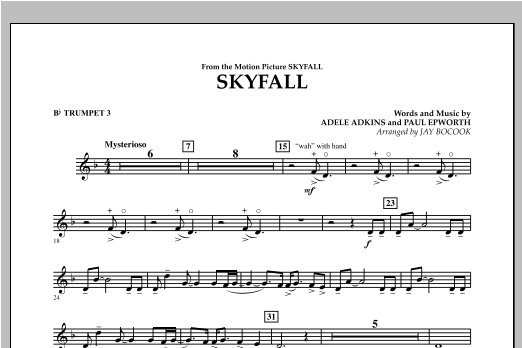 Jay Bocook Skyfall - Bb Trumpet 3 sheet music notes and chords. Download Printable PDF.