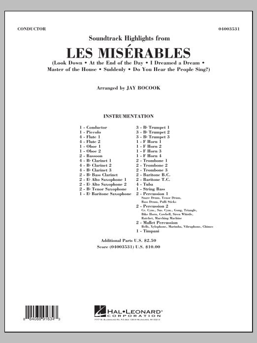 Jay Bocook Soundtrack Highlights from Les Miserables - Conductor Score (Full Score) sheet music notes and chords. Download Printable PDF.