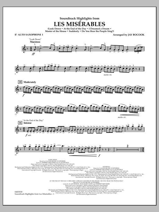 Jay Bocook Soundtrack Highlights from Les Miserables - Eb Alto Saxophone 1 sheet music notes and chords. Download Printable PDF.