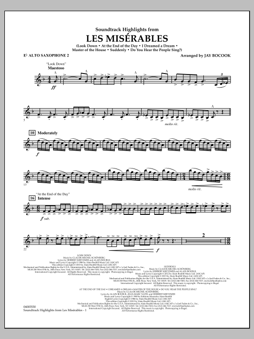 Jay Bocook Soundtrack Highlights from Les Miserables - Eb Alto Saxophone 2 sheet music notes and chords. Download Printable PDF.