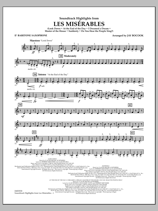 Jay Bocook Soundtrack Highlights from Les Miserables - Eb Baritone Saxophone sheet music notes and chords. Download Printable PDF.