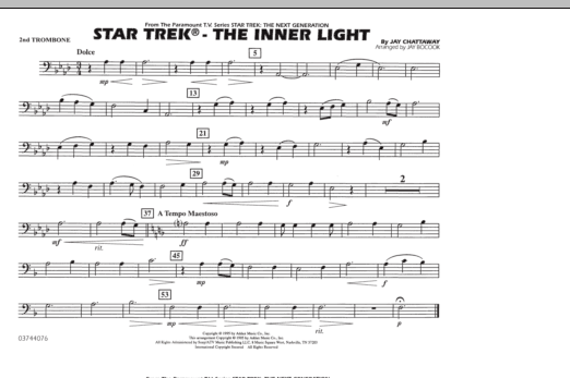 Jay Bocook Star Trek - The Inner Light - 2nd Trombone sheet music notes and chords. Download Printable PDF.
