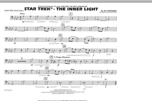 Jay Bocook Star Trek - The Inner Light - Electric Bass sheet music notes and chords. Download Printable PDF.