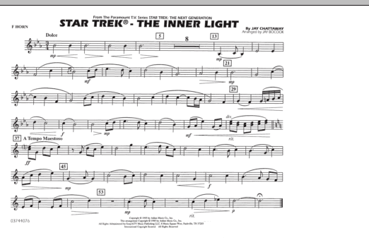 Jay Bocook Star Trek - The Inner Light - F Horn sheet music notes and chords. Download Printable PDF.