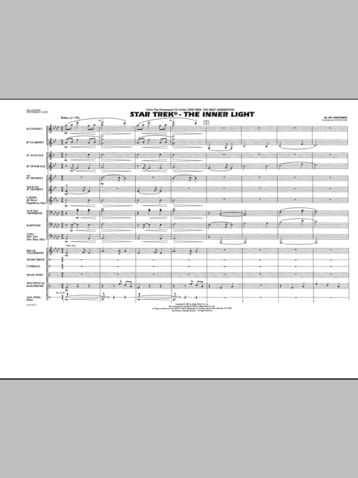 Jay Bocook Star Trek - The Inner Light - Full Score sheet music notes and chords. Download Printable PDF.