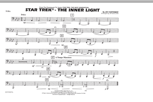 Jay Bocook Star Trek - The Inner Light - Tuba sheet music notes and chords. Download Printable PDF.
