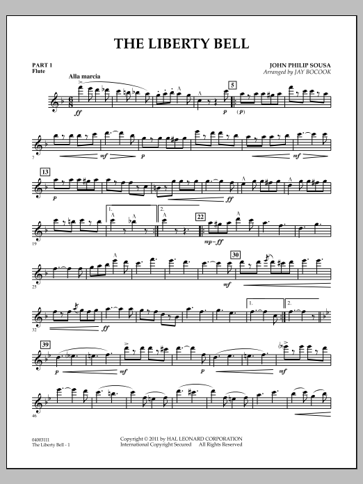 Jay Bocook The Liberty Bell - Pt.1 - Flute sheet music notes and chords. Download Printable PDF.