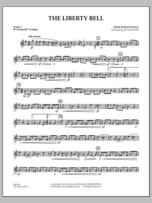 Jay Bocook The Liberty Bell - Pt.2 - Bb Clarinet/Bb Trumpet sheet music notes and chords. Download Printable PDF.