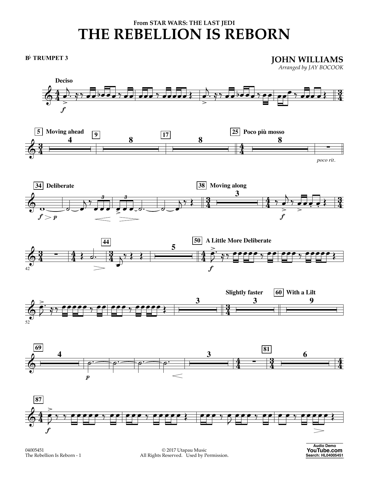 Jay Bocook The Rebellion Is Reborn (from Star Wars: The Last Jedi) - Bb Trumpet 3 sheet music notes and chords. Download Printable PDF.