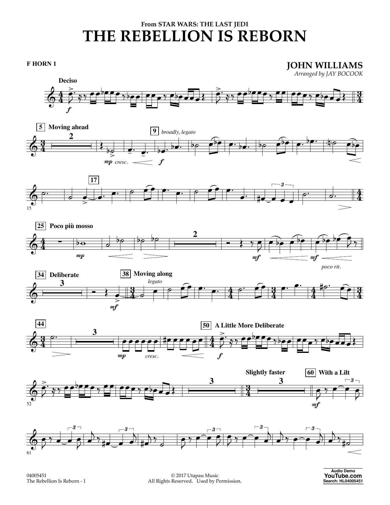 Jay Bocook The Rebellion Is Reborn (from Star Wars: The Last Jedi) - F Horn 1 sheet music notes and chords. Download Printable PDF.