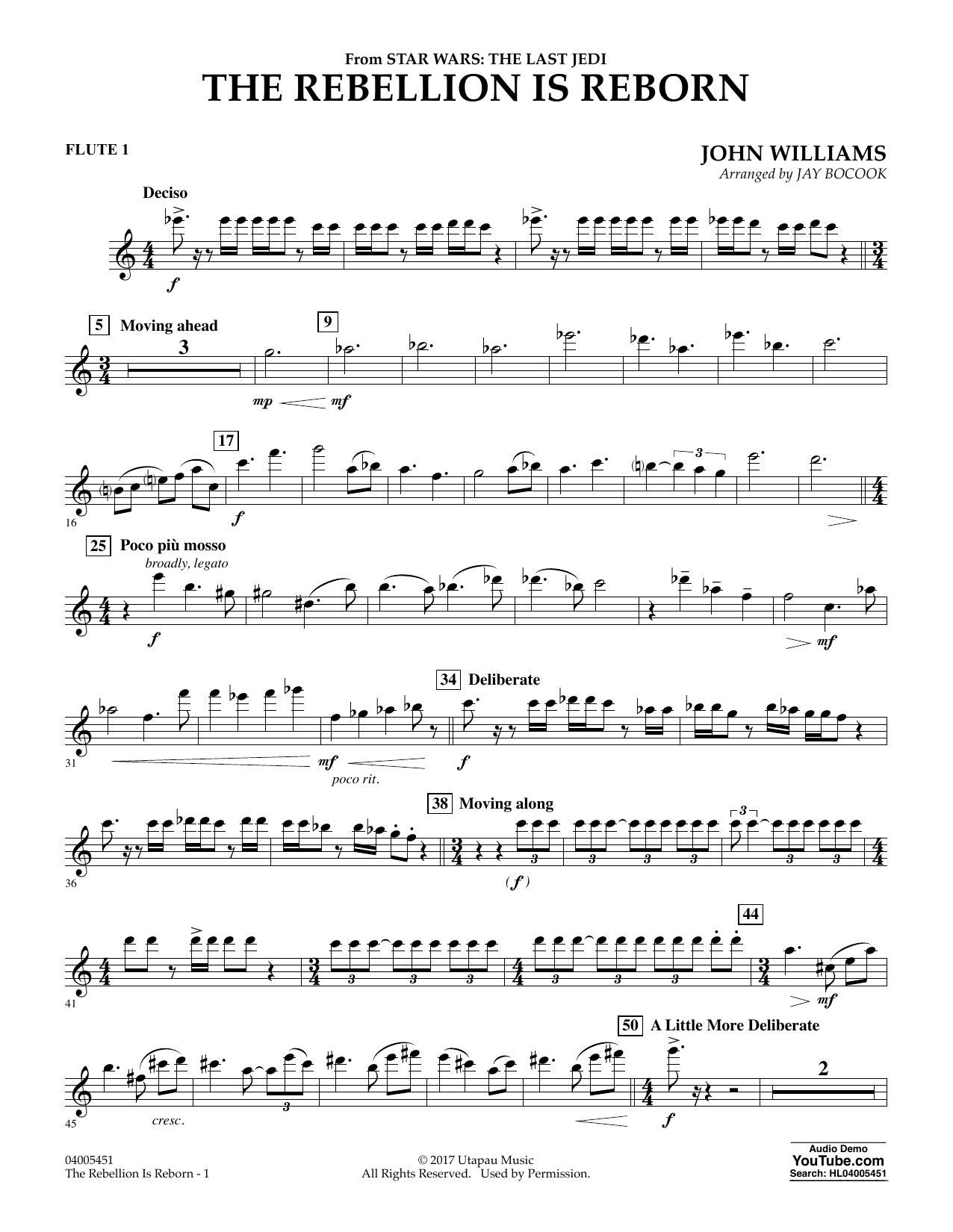 Jay Bocook The Rebellion Is Reborn (from Star Wars: The Last Jedi) - Flute 1 sheet music notes and chords. Download Printable PDF.