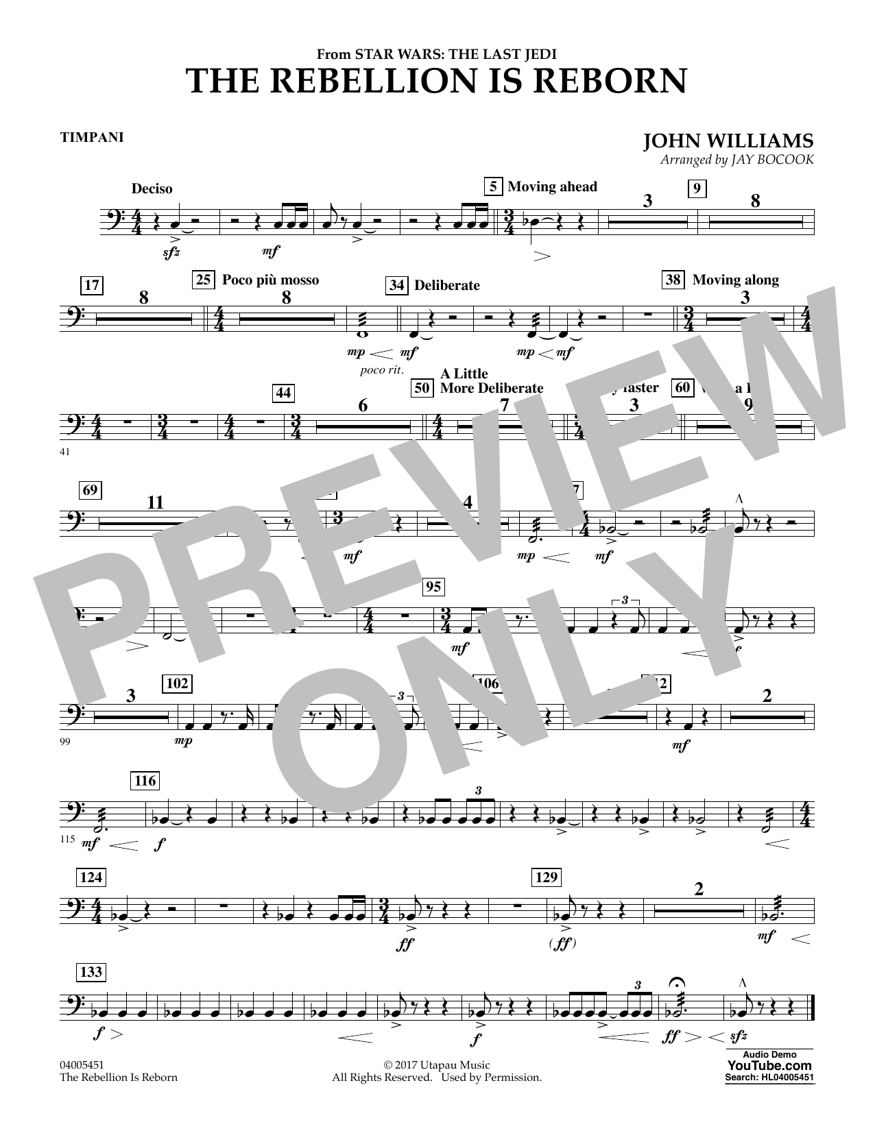 Jay Bocook The Rebellion Is Reborn (from Star Wars: The Last Jedi) - Timpani sheet music notes and chords. Download Printable PDF.
