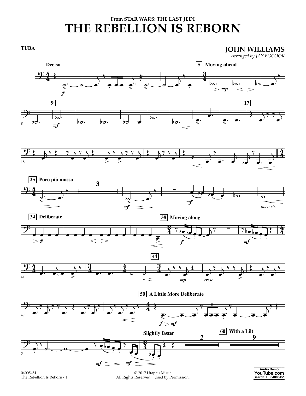 Jay Bocook The Rebellion Is Reborn (from Star Wars: The Last Jedi) - Tuba sheet music notes and chords. Download Printable PDF.