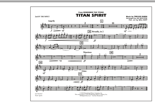 Jay Bocook Titan Spirit (Theme from Remember The Titans) - 2nd Bb Trumpet sheet music notes and chords. Download Printable PDF.