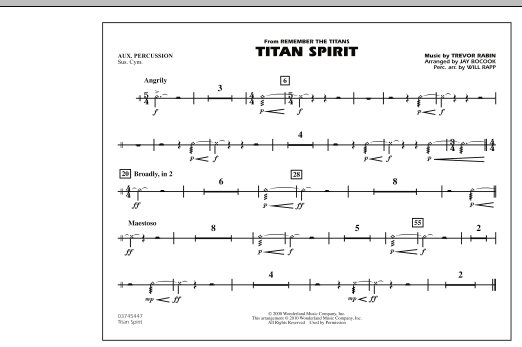 Jay Bocook Titan Spirit (Theme from Remember The Titans) - Aux Percussion sheet music notes and chords. Download Printable PDF.