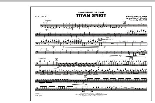 Jay Bocook Titan Spirit (Theme from Remember The Titans) - Baritone B.C. sheet music notes and chords. Download Printable PDF.