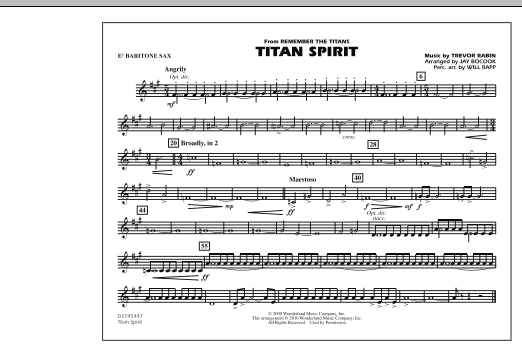Jay Bocook Titan Spirit (Theme from Remember The Titans) - Eb Baritone Sax sheet music notes and chords. Download Printable PDF.