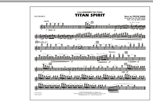 Jay Bocook Titan Spirit (Theme from Remember The Titans) - Flute/Piccolo sheet music notes and chords. Download Printable PDF.