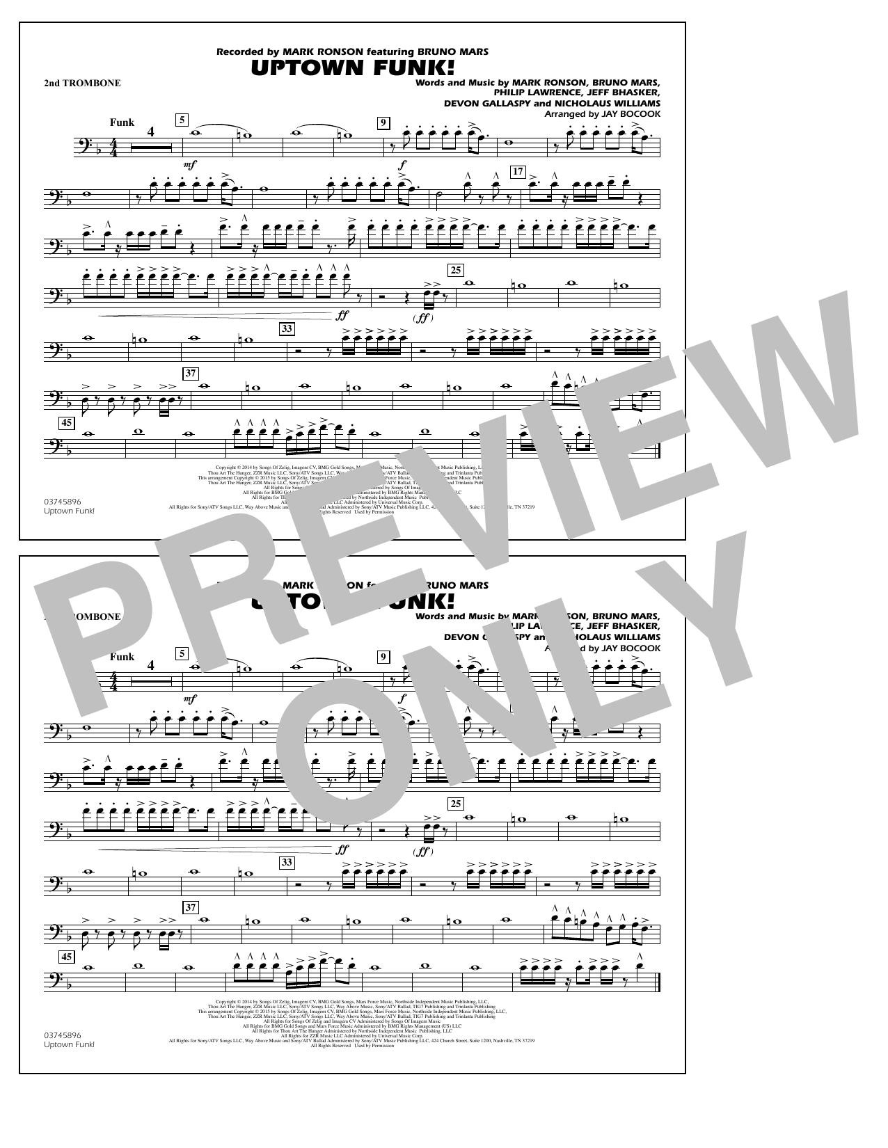 Jay Bocook 'Uptown Funk! - 2nd Trombone' Sheet Music Notes, Chords    Download Printable Marching Band - SKU: 338889