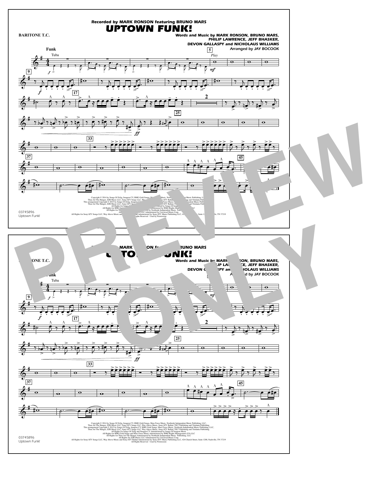 Jay Bocook Uptown Funk! - Baritone T.C. sheet music notes and chords. Download Printable PDF.