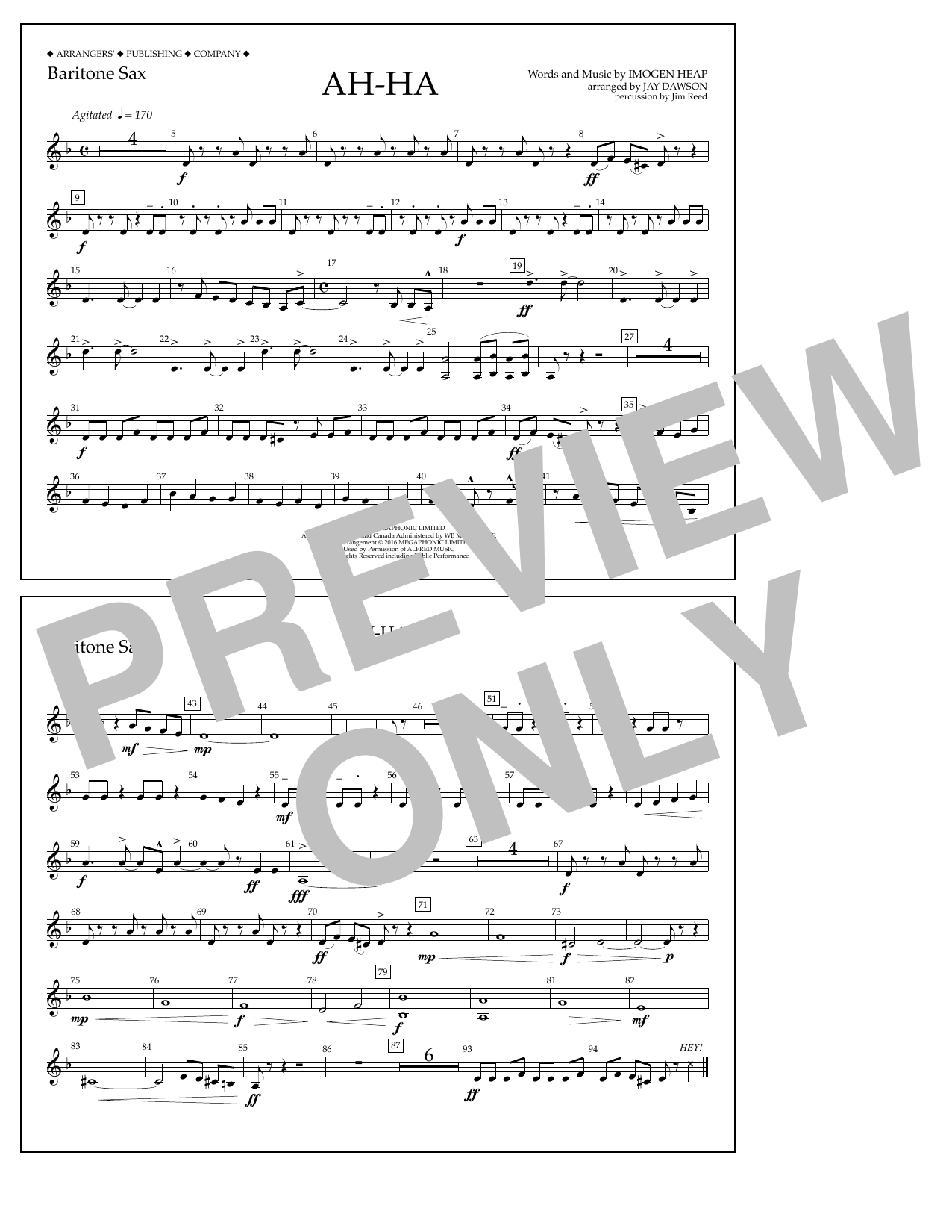 Jay Dawson Ah-ha - Baritone Sax sheet music notes and chords. Download Printable PDF.
