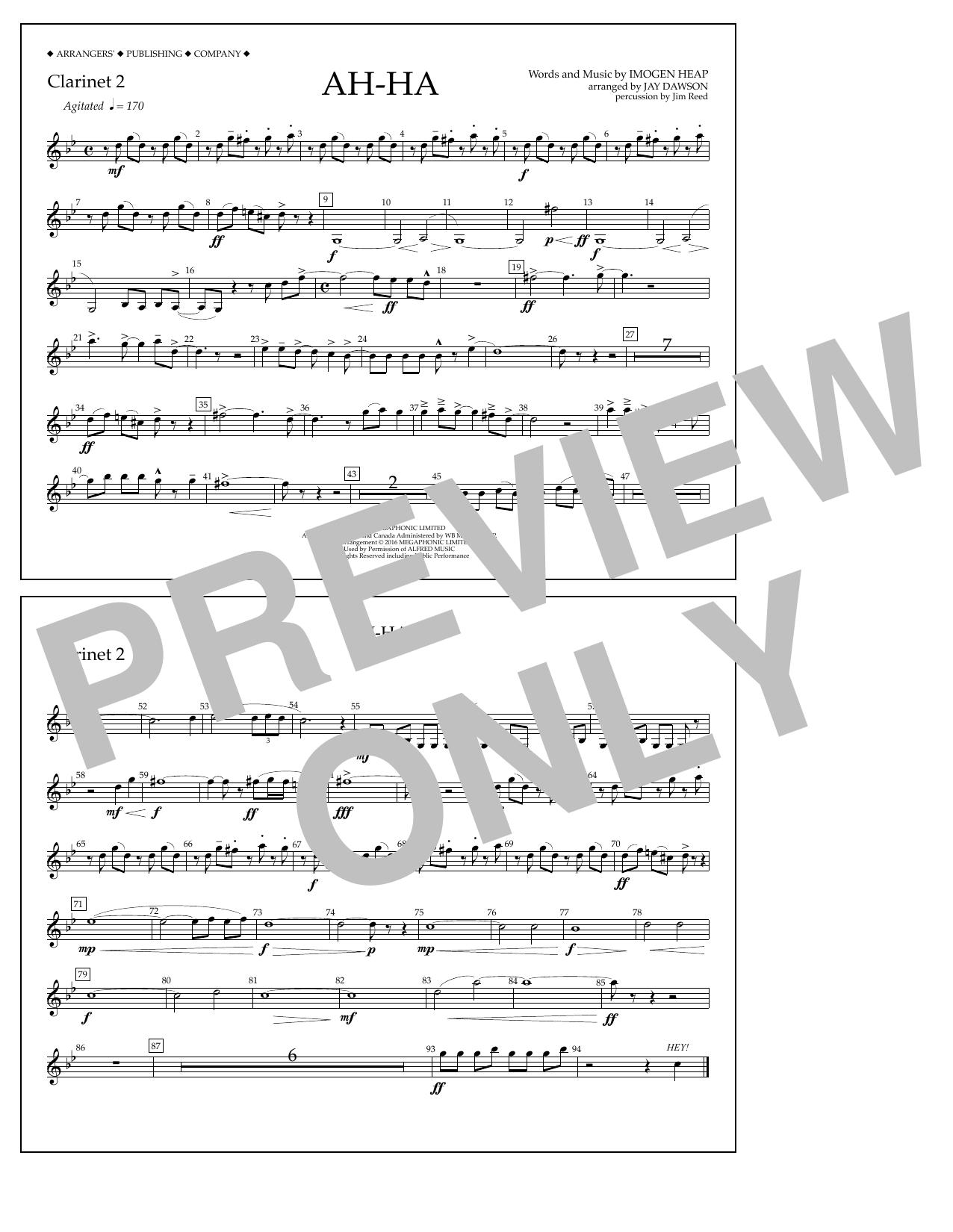 Jay Dawson Ah-ha - Clarinet 2 sheet music notes and chords. Download Printable PDF.