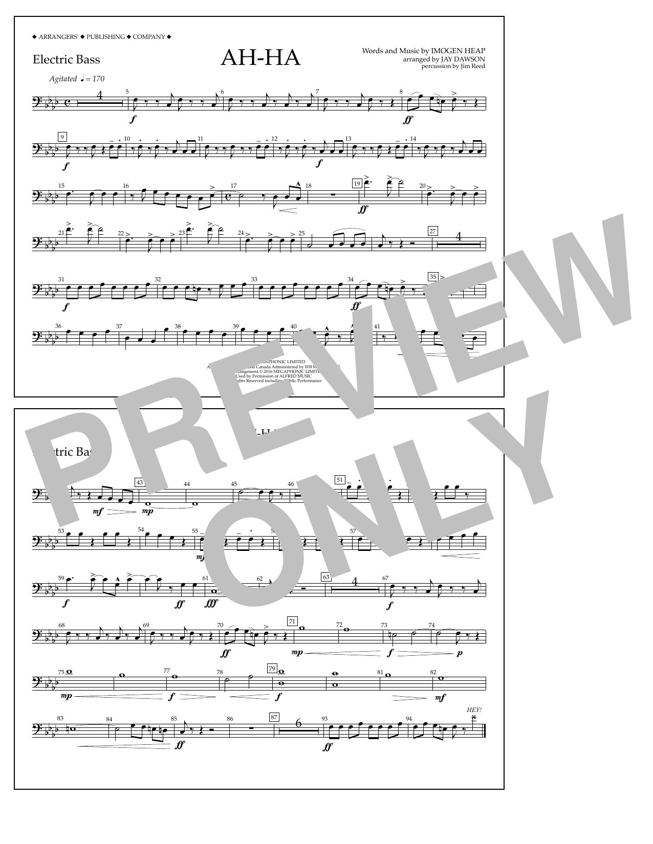 Jay Dawson Ah-ha - Electric Bass sheet music notes and chords. Download Printable PDF.