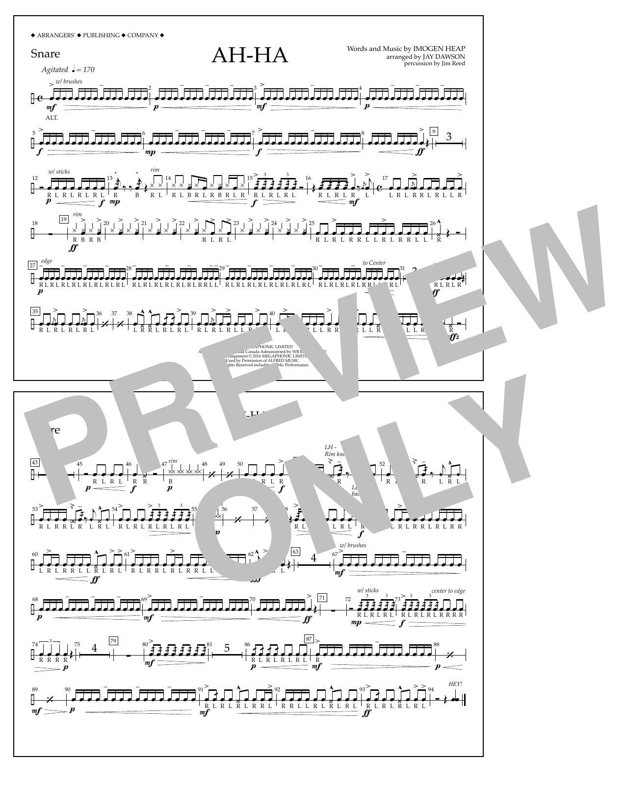 Jay Dawson Ah-ha - Snare sheet music notes and chords. Download Printable PDF.