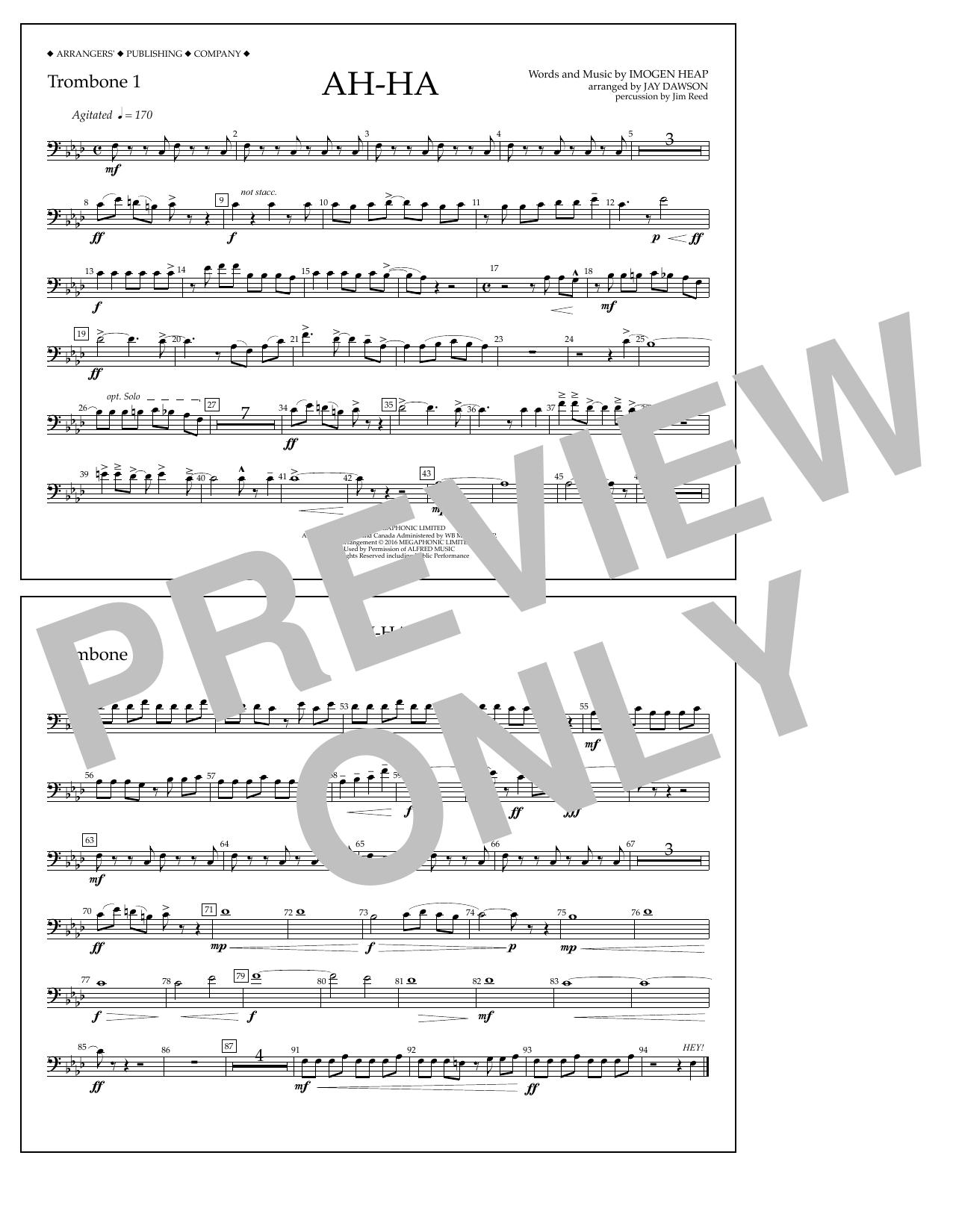 Jay Dawson Ah-ha - Trombone 1 sheet music notes and chords. Download Printable PDF.