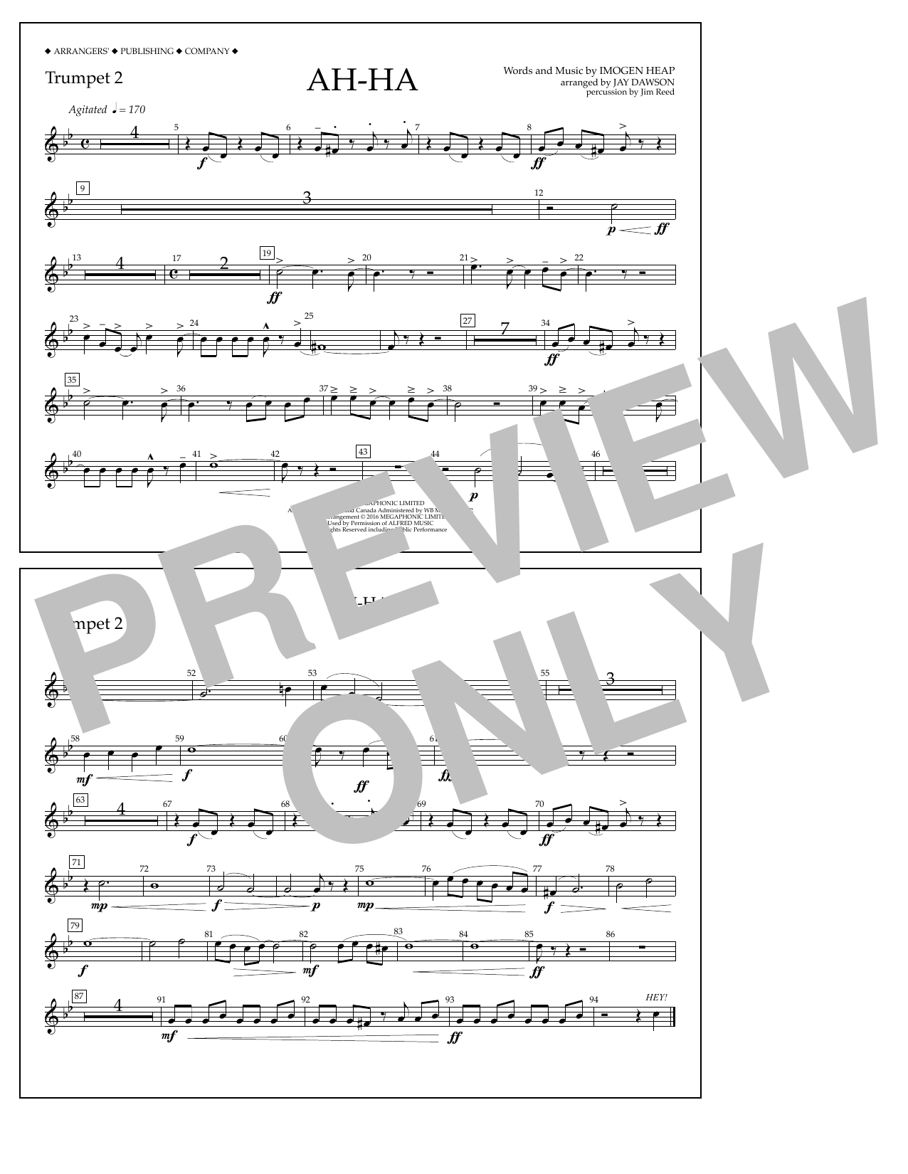 Jay Dawson Ah-ha - Trumpet 2 sheet music notes and chords. Download Printable PDF.