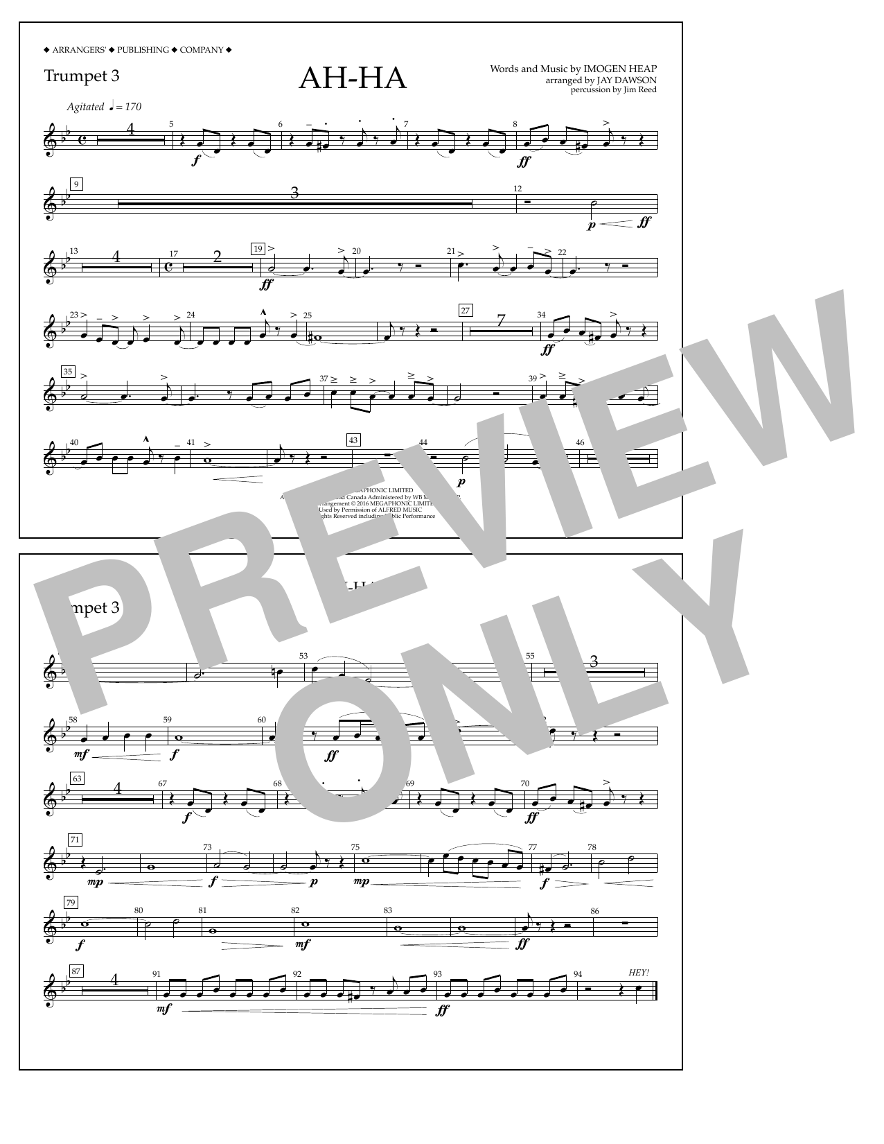 Jay Dawson Ah-ha - Trumpet 3 sheet music notes and chords. Download Printable PDF.