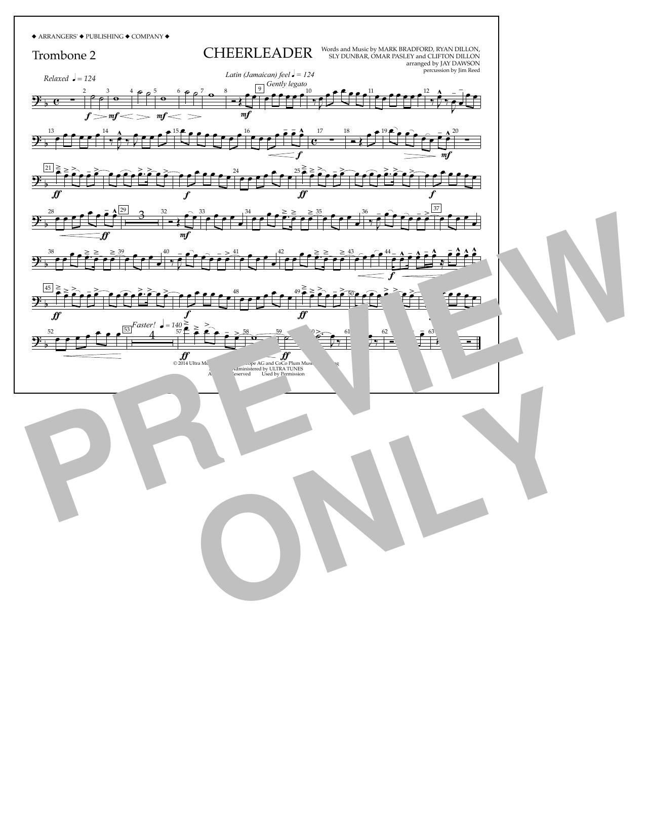 Jay Dawson Cheerleader - Trombone 2 sheet music notes and chords