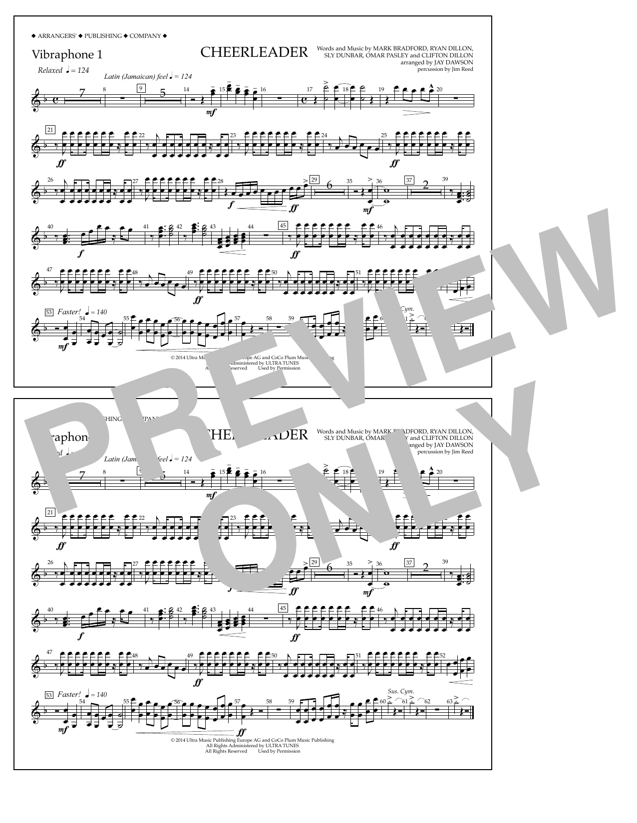 Jay Dawson Cheerleader - Vibraphone 1 sheet music notes and chords