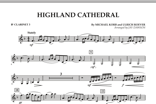 Jay Dawson Highland Cathedral - Bb Clarinet 3 sheet music notes and chords