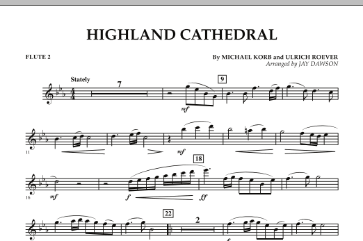 Jay Dawson Highland Cathedral - Flute 2 sheet music notes and chords