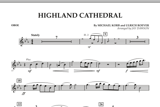 Jay Dawson Highland Cathedral - Oboe sheet music notes and chords