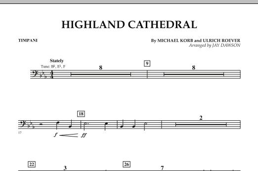 Jay Dawson Highland Cathedral - Timpani sheet music notes and chords