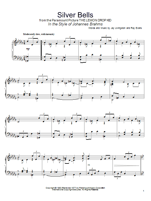 Jay Livingston Silver Bells (in the style of Johannes Brahms) sheet music notes and chords. Download Printable PDF.