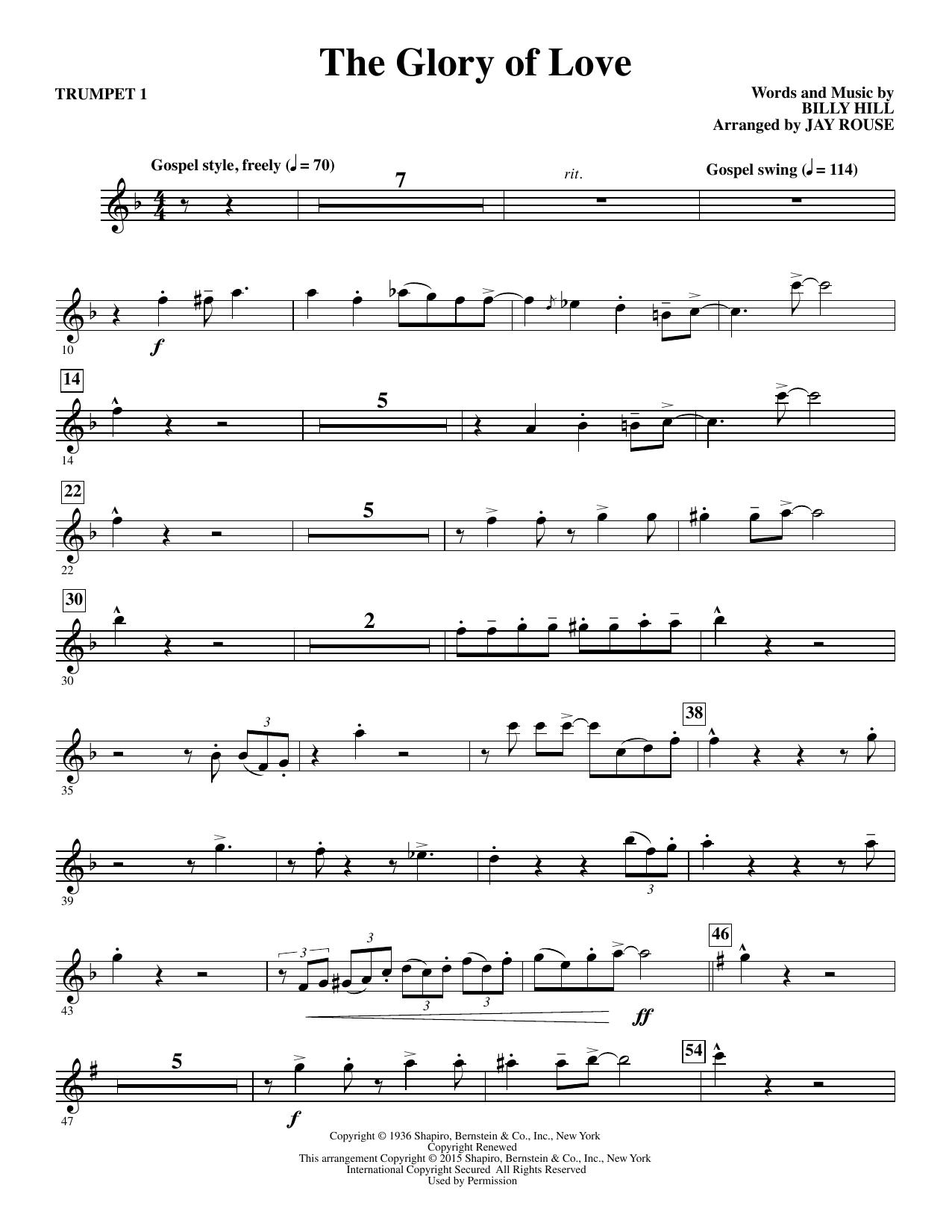 Jay Rouse The Glory of Love - Bb Trumpet 1 sheet music notes and chords. Download Printable PDF.