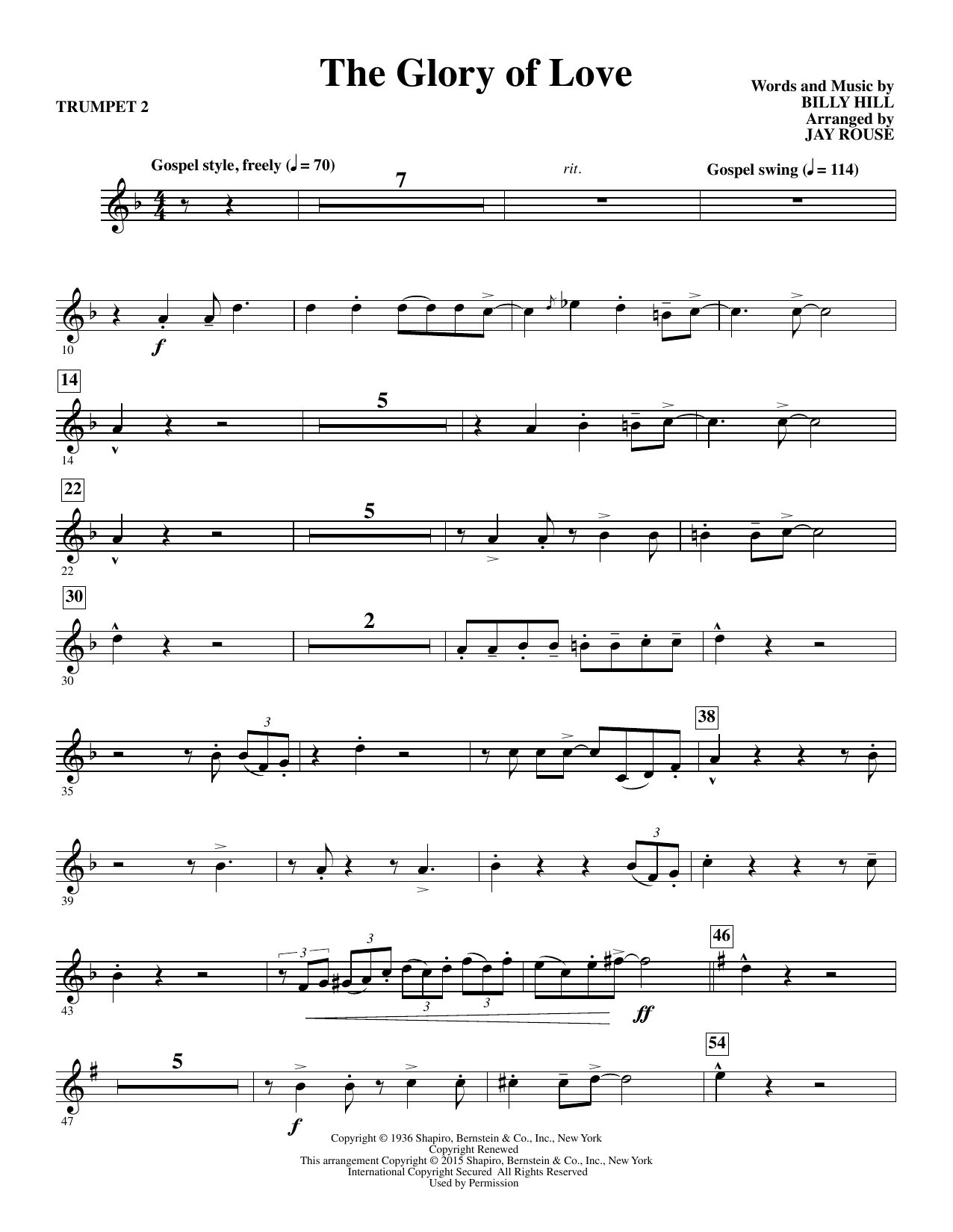 Jay Rouse The Glory of Love - Bb Trumpet 2 sheet music notes and chords. Download Printable PDF.