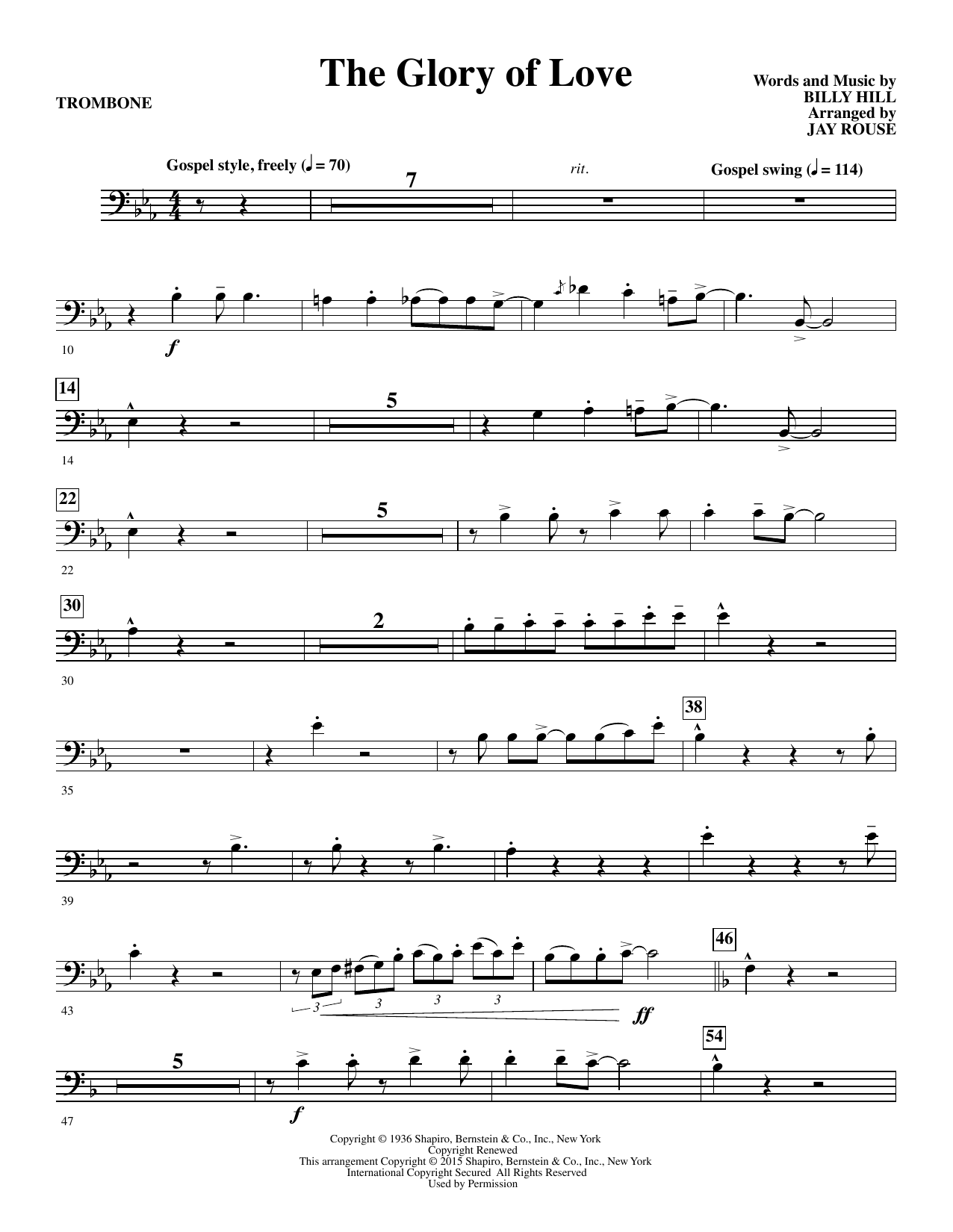Jay Rouse The Glory of Love - Trombone sheet music notes and chords. Download Printable PDF.