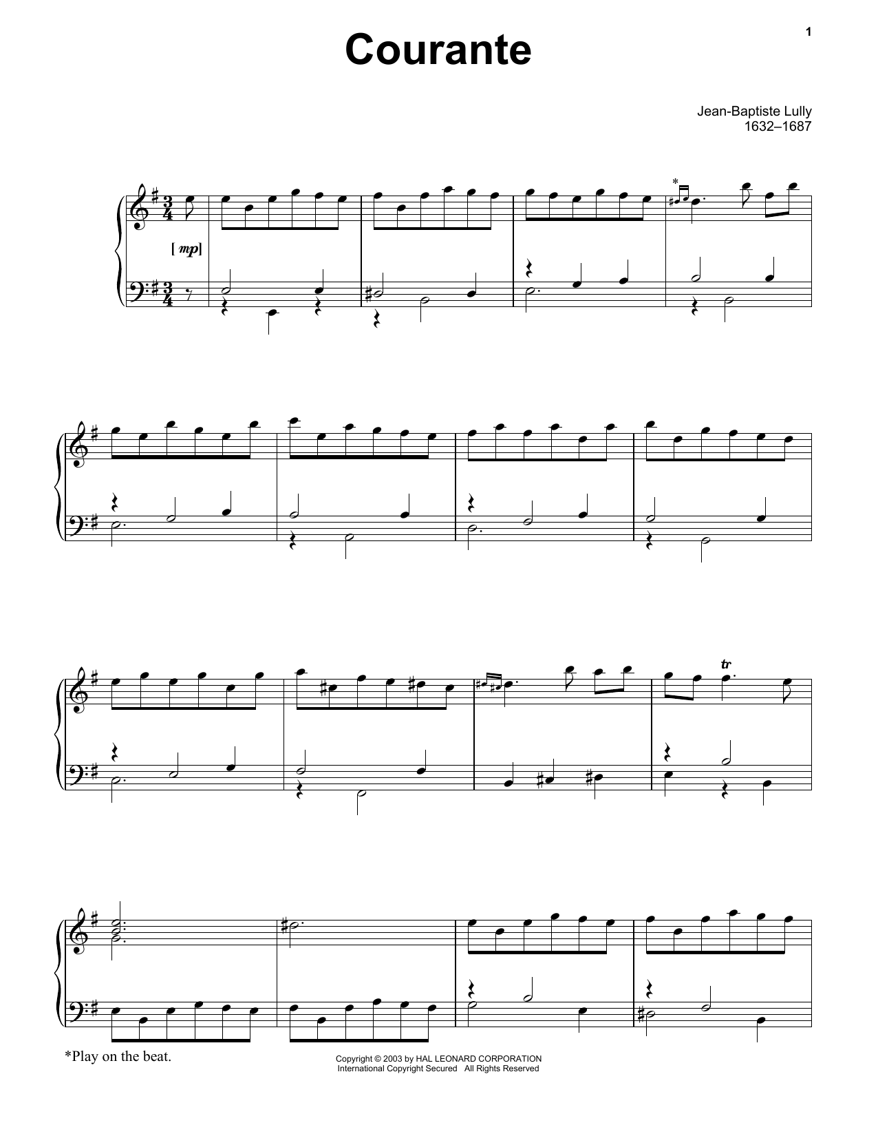 Jean-Baptiste Lully Courante sheet music notes and chords. Download Printable PDF.