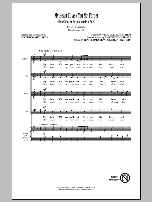 Jean-Baptiste Weckerlin My Heart I'll Ask You Not Forget (arr. Matthew Michaels) sheet music notes and chords. Download Printable PDF.