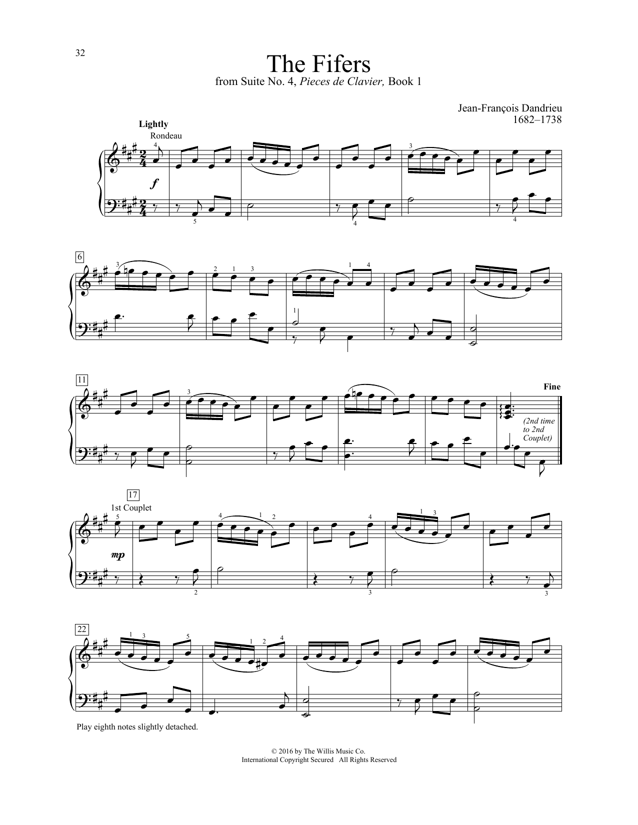 Jean-Francois Dandrieu The Fifers sheet music notes and chords. Download Printable PDF.