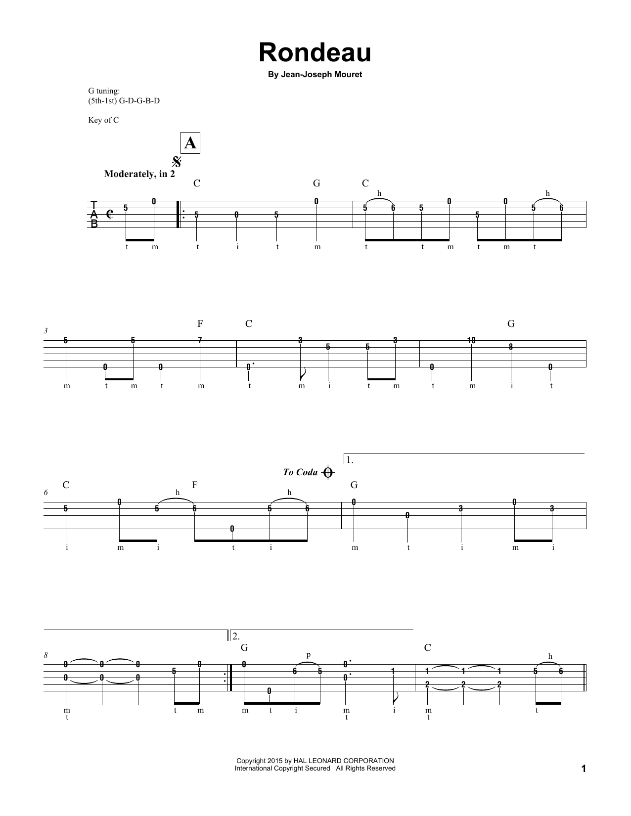 Jean-Joseph Mouret Fanfare Rondeau sheet music notes and chords. Download Printable PDF.
